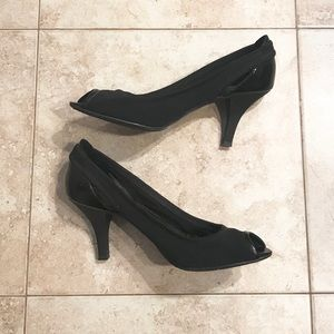 Circa Joan & David black peep-toe heels